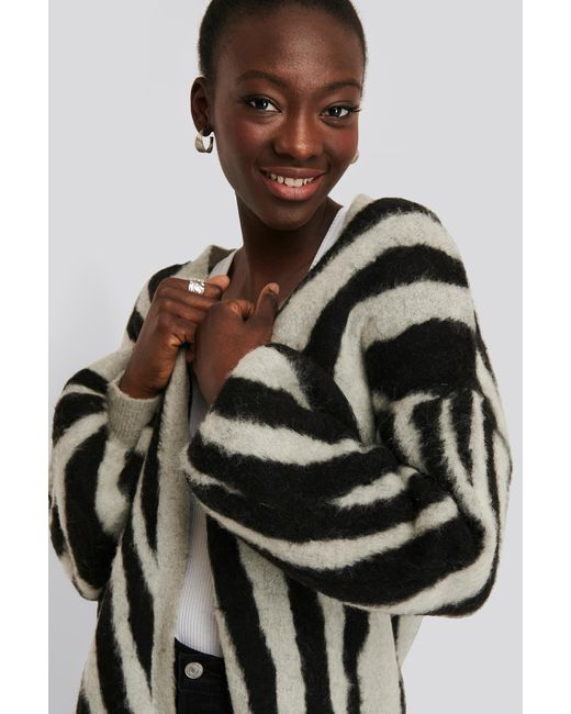 NA-KD Black Trend Zebra Printed Oversized Cardigan