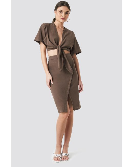 NA-KD Brown Trend Overlap Linen Look Skirt
