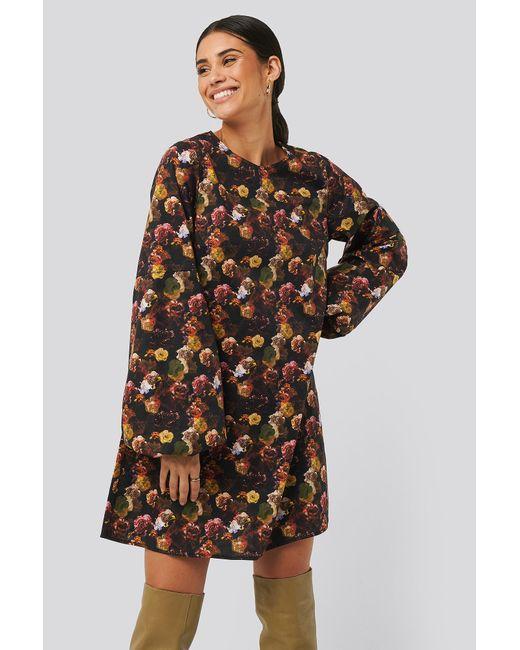 NA-KD Multicolor Trend Volume LS Mini Dress
