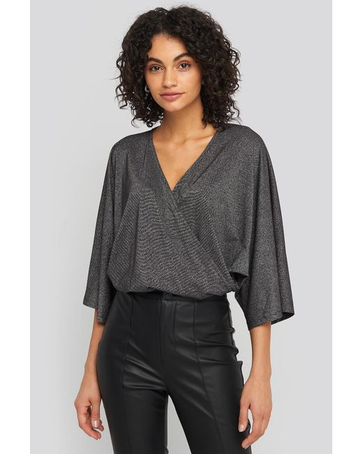 NA-KD Black Party Kimono Sleeve Lurex Bodysuit