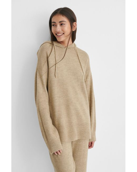 NA-KD Hood Knitted Sweater in het Natural