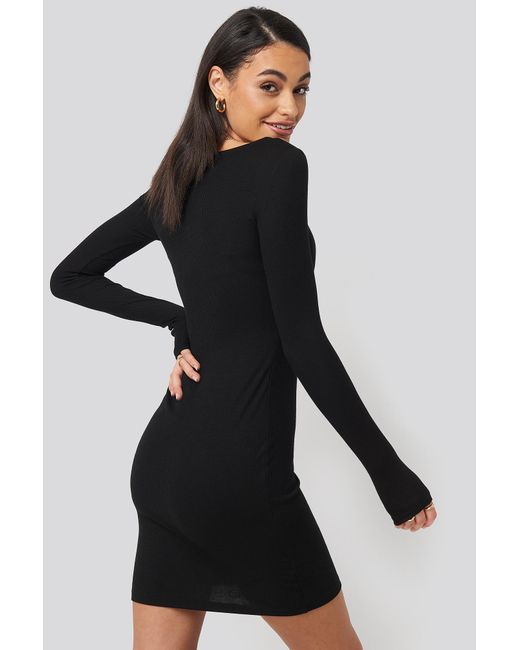 NA-KD Black Basic Deep Round Neck Ribbed Dress