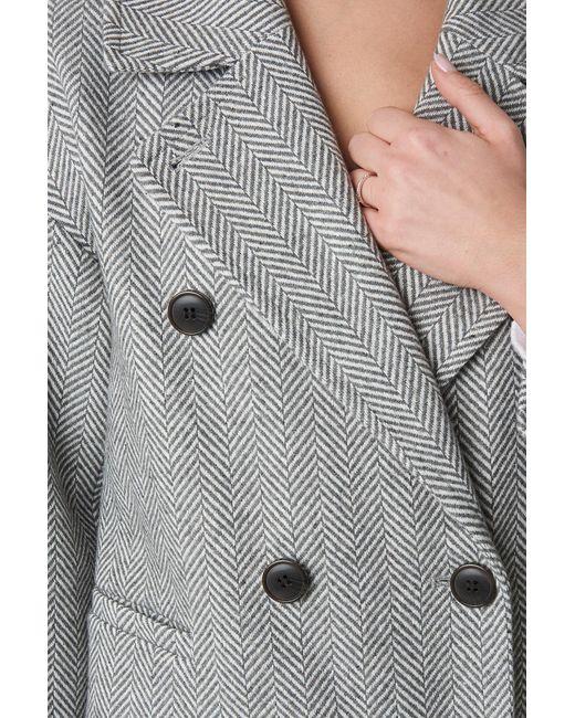 NA-KD Gray Trend Herringbone Double Breasted Coat