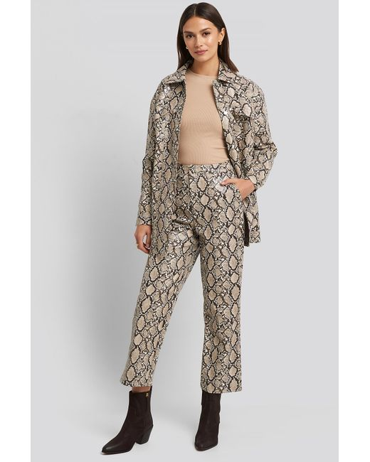 NA-KD Multicolor Beige Snake Printed Cropped Pants