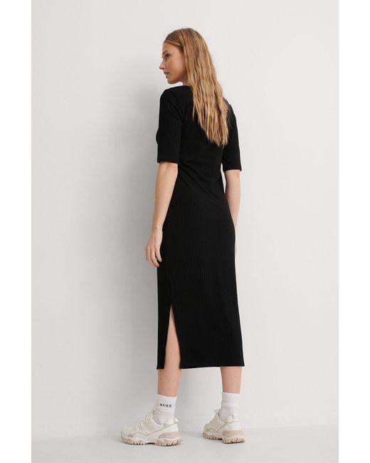 NA-KD Black Basic Ribbed V-Neck Jersey Midi Dress