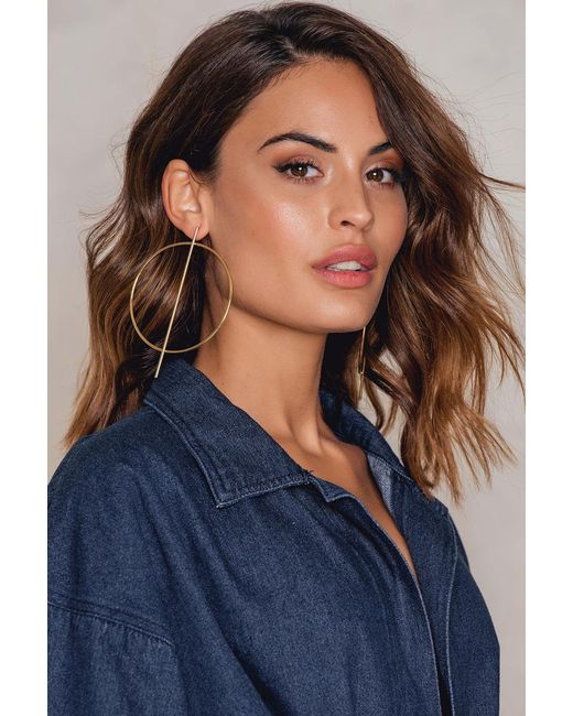 NA-KD | Metallic Big Round And Straight Earring | Lyst