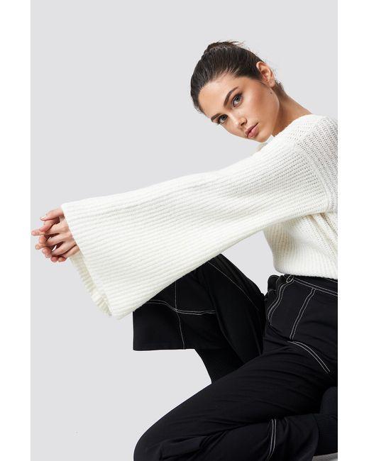 NA-KD White Big Sleeve Knitted Sweater