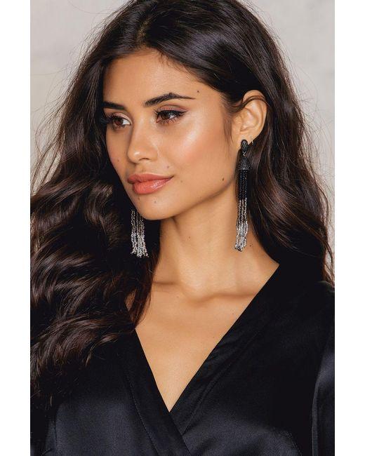 NA-KD | Black Hanging Beads Tassels Earrings | Lyst