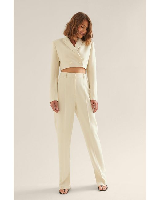 NA-KD Natural Offwhite Side Slit Trousers