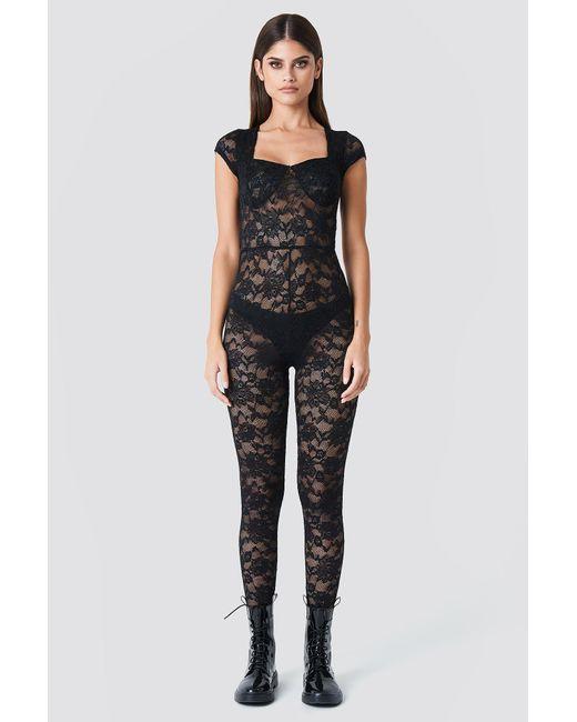 NA-KD - Black Lace Bodysuit - Lyst