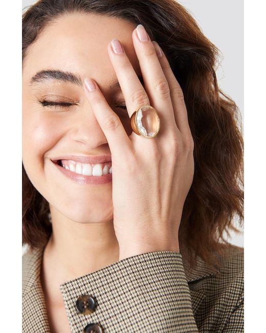 NA-KD - Metallic Glass Stone Ring - Lyst