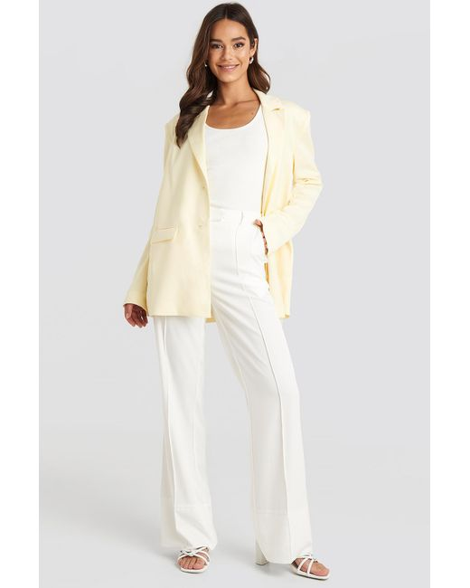 NA-KD Fold Up Flared Pants White