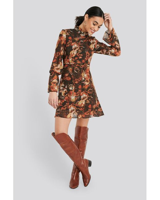 Trendyol Orange Patterned Mini Dress
