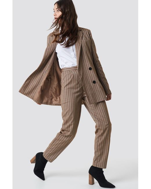 NA-KD Natural Straight Leg Striped Suit Pants Beige