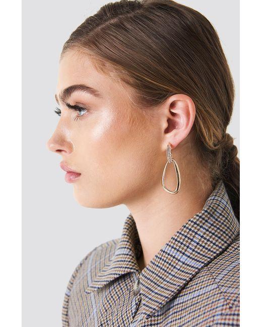 NA-KD - Metallic Embellished Asymmetric Oval Earrings - Lyst