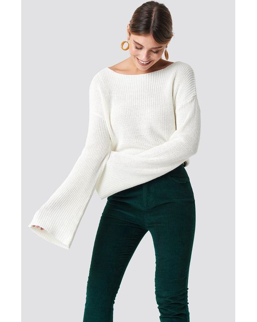 NA-KD - Cropped Long Sleeve Knitted Sweater White - Lyst