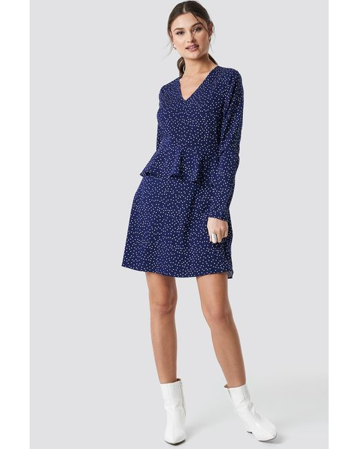 NA-KD Irregular Dot Printed Flounce Dress Blue