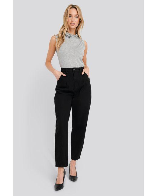 NA-KD Black Trend Cropped Balloon Leg Jeans
