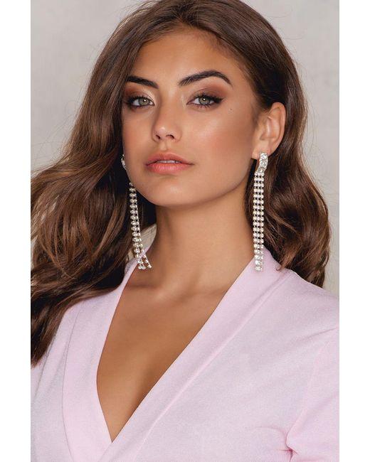 NA-KD | Metallic Strand Crystal Earrings | Lyst