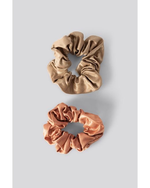 NA-KD Brown Double Pack Dull Satin Scrunchies Multicolor