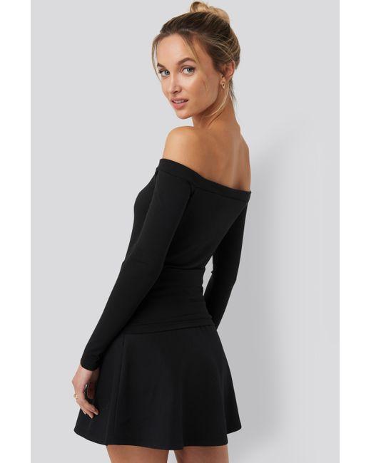 NA-KD Black Pamela x Reborn Long Sleeve Bardot Top