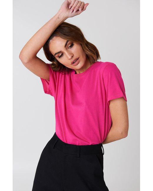 NA-KD - Pink Basic Oversized Tee - Lyst