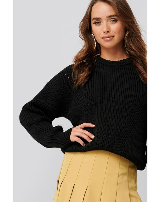 NA-KD Black Wool Blend Pointelle Stitch Sweater