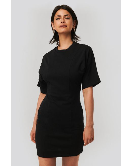 NA-KD Black T-Shirt-Kleid
