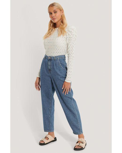 Mango Cropped Jeans Met Hoge Taille in het Blue