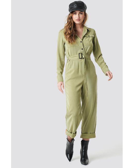 94de83af96 Women's Belted Cargo Jumpsuit Green