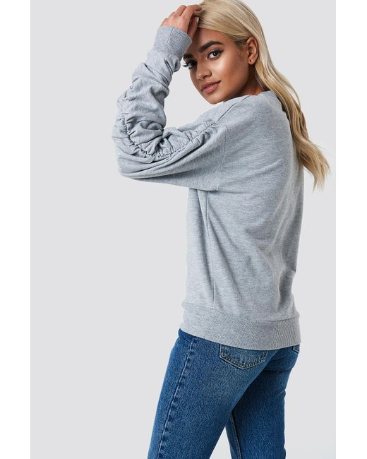 NA-KD - Gray Ruched Sleeve Sweater - Lyst