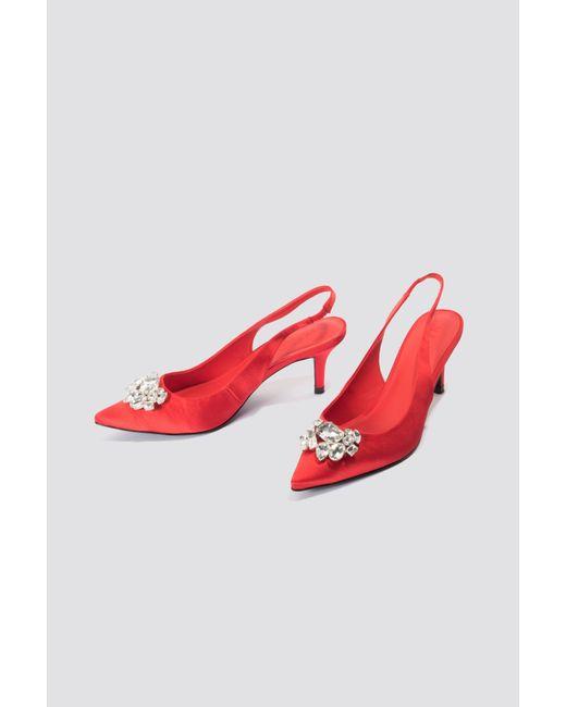 NA-KD - Red Light Embellished Kitten Heel Pumps - Lyst