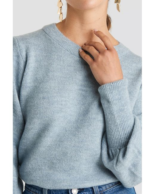 NA-KD Puff Sleeve Wide Rib Knitted Sweater in het Blue