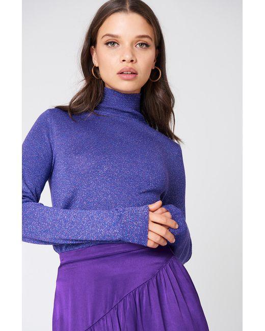 NA-KD - Purple Polo Neck Glittery Sweater - Lyst