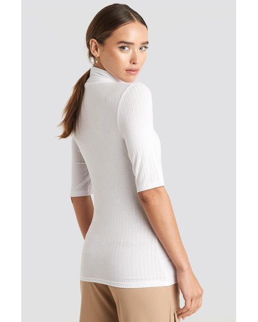 NA-KD Ribbed Polo Short Sleeve Top in het White