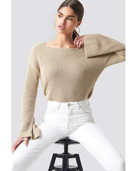 NA-KD - Natural Cropped Long Sleeve Knitted Sweater Beige - Lyst
