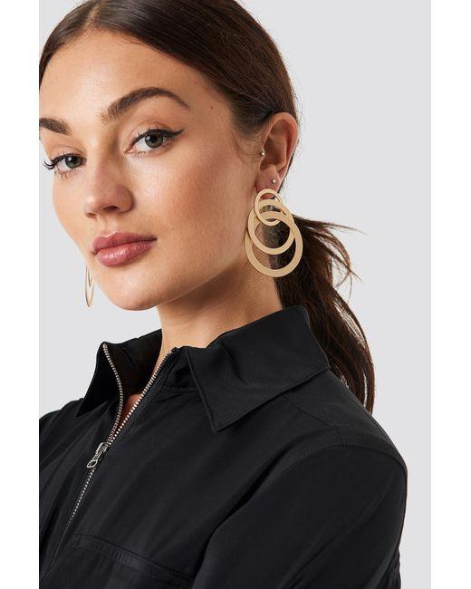 NA-KD - Metallic Matte Layered Hoops Earrings Gold - Lyst