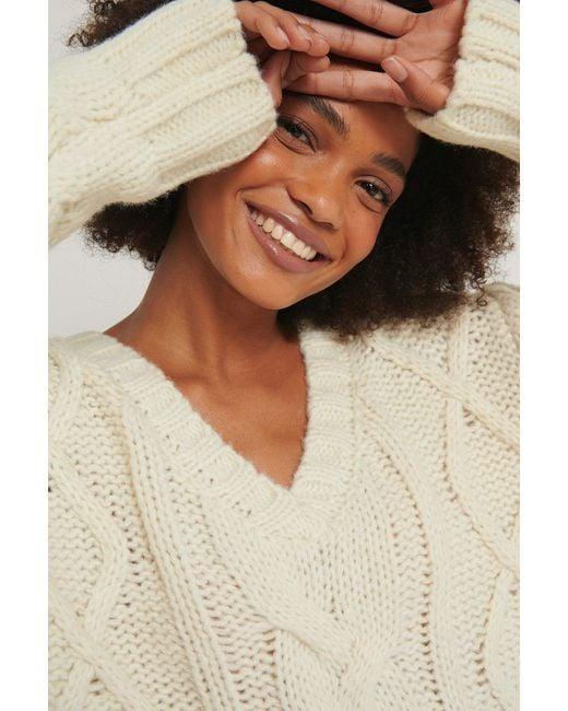 NA-KD White Chunky Knit V-neck Cable Sweater