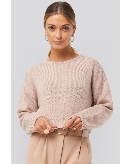 NA-KD Pink Cropped Round Neck Knitted Sweater