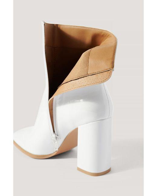 NA-KD Lakleren Laarzen Met Vierkante Neus in het White