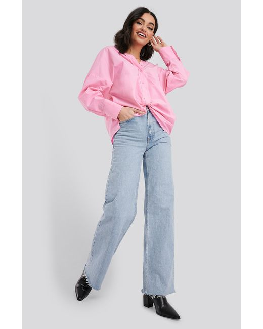 NA-KD Pink Classic Front Knot Shirt