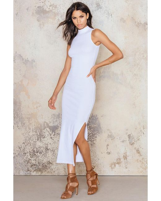 NA-KD | White Rib High Neck Midi Dress | Lyst