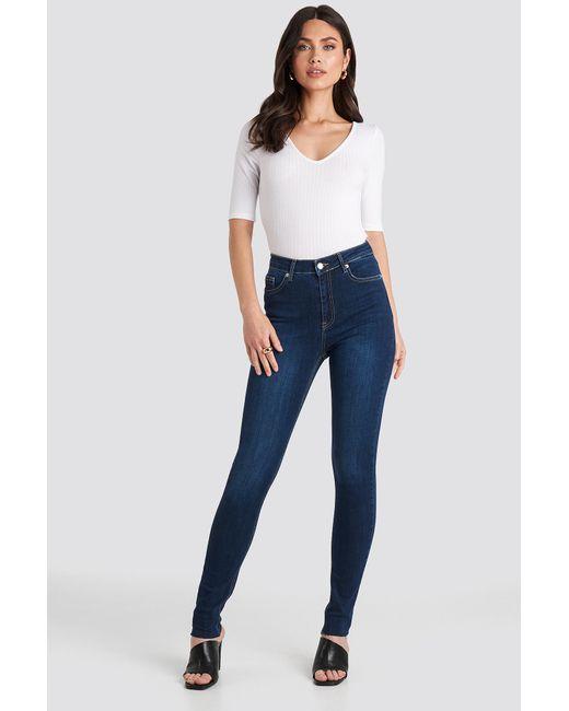 NA-KD Blue Skinny High Waist Raw Hem Jeans Tall