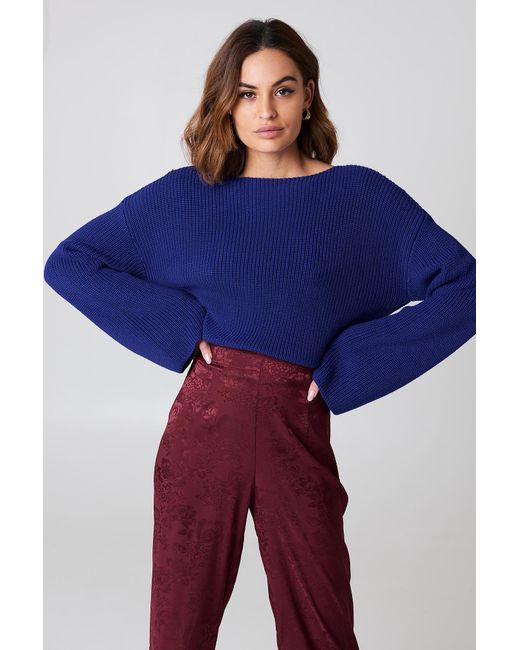 NA-KD - Blue Cropped Long Sleeve Knitted Sweater Cobolt - Lyst