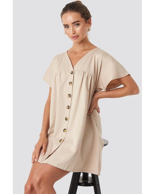 NA-KD Natural Button Detail Loose Fit Mini Dress