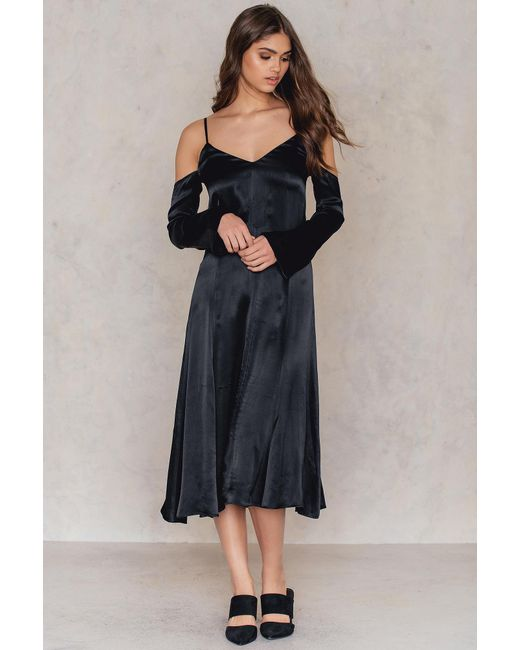 NA-KD - Cold Shoulder Slip Dress Black - Lyst