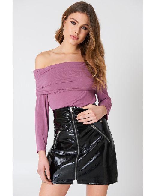 NA-KD - Offshoulder Light Knitted Sweater Dark Purple Rose - Lyst