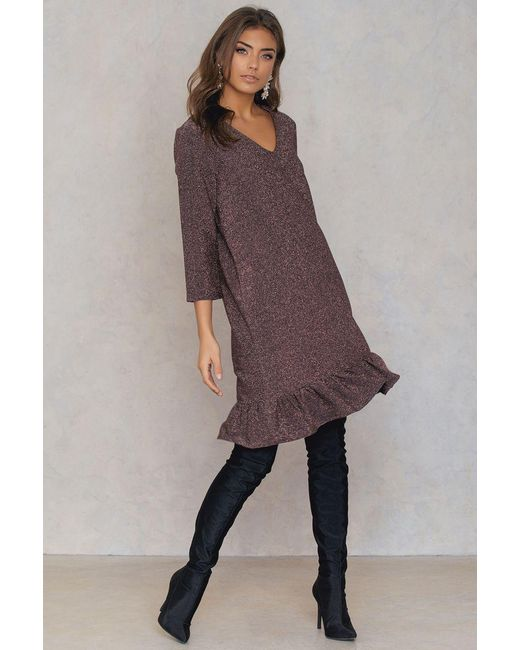 NA-KD | Pink Bottom Frill Sleeve Dress | Lyst