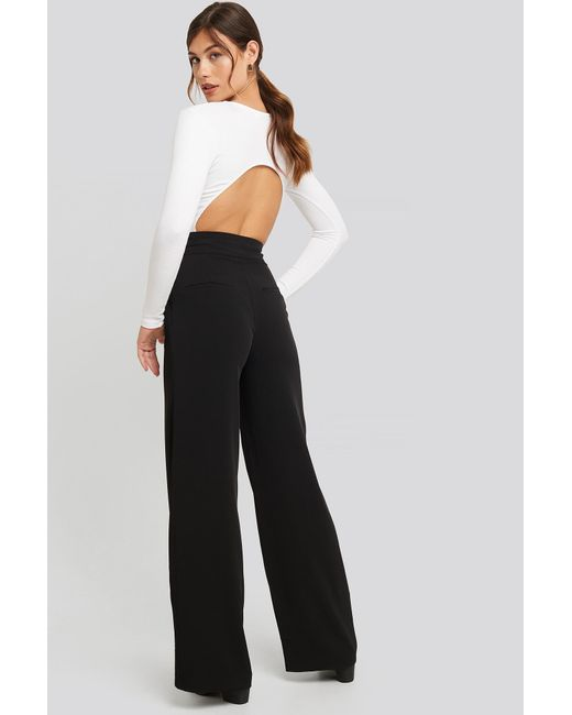 NA-KD Black Classic High Waisted Wide Leg Suit Pants