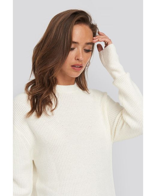 NA-KD Round Neck Knitted Long Sweater in het White
